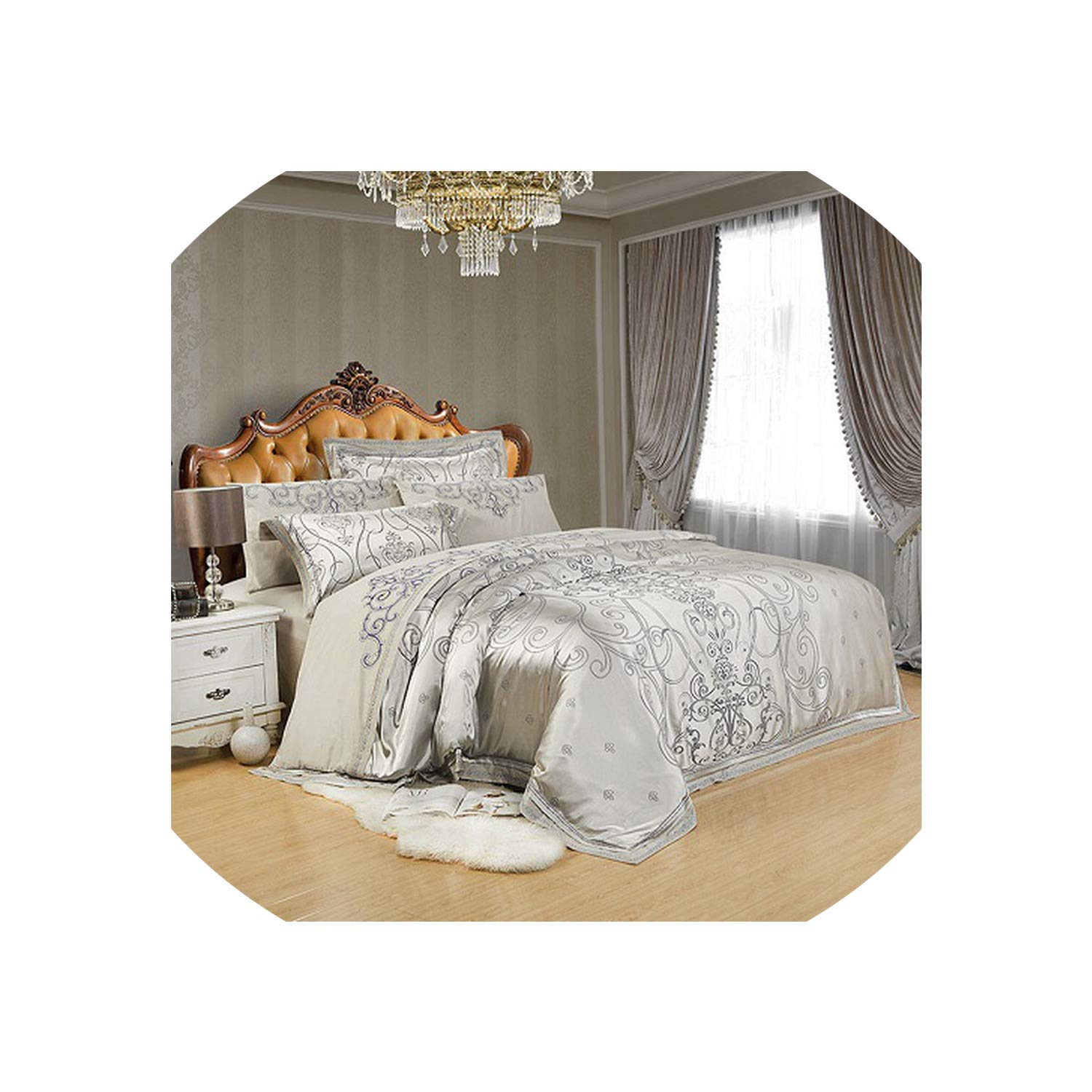 Silver Gold Luxury Silk Satin Jacquard Duvet Cover Bedding Set Queen King Size Embroidery Bed Set Bed Sheet/Fitted Sheet Set,Color 2,King 4Pcs,Fitted Sheet Style