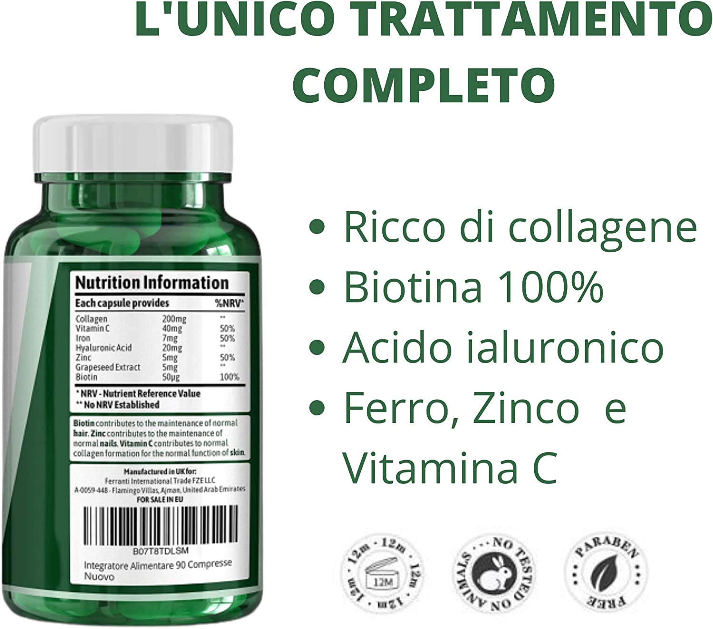 vitaminas para cabello, piel y uñas – a base de colágeno con biotina y ácido hialurónico – 90 comprimidos