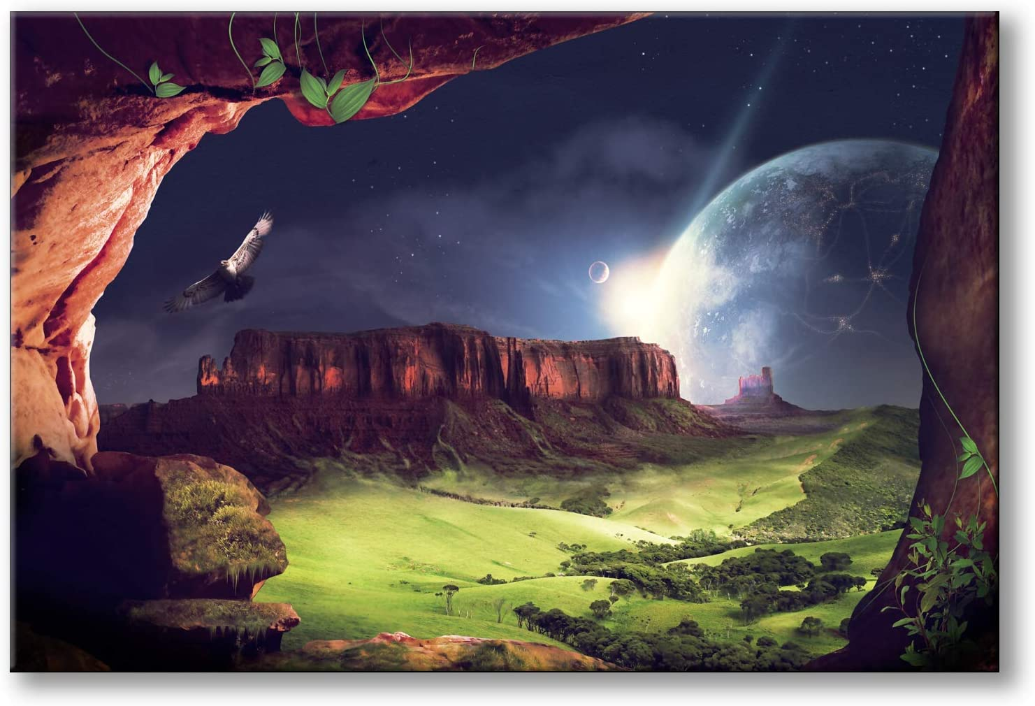 Spoonbills Modern Wall Art Fantasy Landscape Universe Painting Printed on Canvas for Home Decor Lifestyle Artwork (Landscape & Universe)