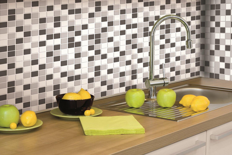 RoomMates Black & White Mosaic Peel and Stick Tile Backsplash, 4-pack 10.5'' X 10.5''