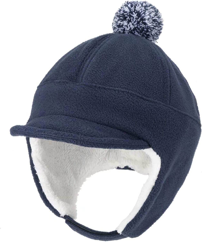 Home Prefer Toddler Boys Winter Hat with Earflaps Baseball Hat Visor Fleece Caps