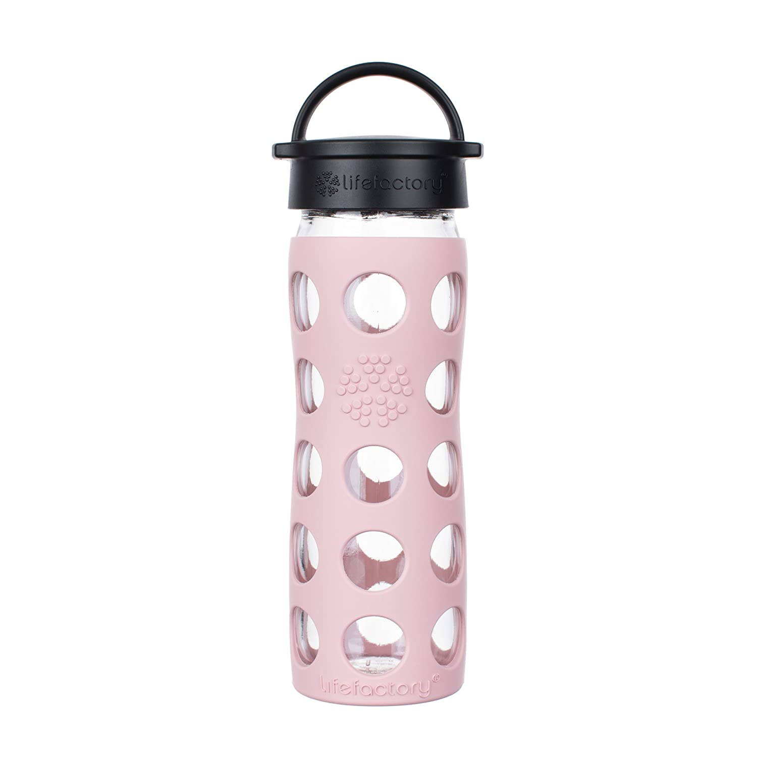 Desert Rose LF230208C4 Lifefactory 22-Ounce BPA-Free Glass Water Bottle with Classic Cap and Silicone Sleeve