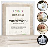 100% Unbleached Cheesecloth Ultra-Fine Grade 50 Butter Muslin Perfect for Cooking, Nut milk Filter, Cheese Making, Broth Strainer, Muslin Bag 2 Sq Yards/18 SQ Feet