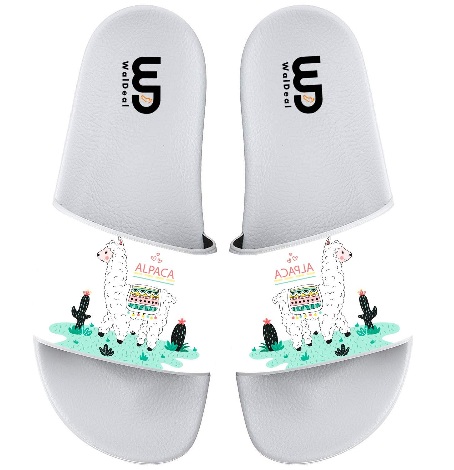 Lovely Hand Drawn Alpaca Llama Summer Slide Slippers For Girl Boy Kid Non-Slip Sandal Shoes size 12