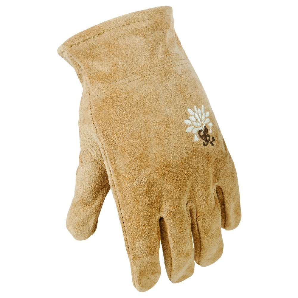 4 Pack Digz Womens Large Full Suede Leather All Purpose Work/Garden Gloves (4 Pair)