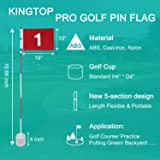 KINGTOP Golf Flagsticks Pro, Portable Putting Green Flags Poles Hole Cup Set, 6 Feet, Gifts, Thanksgiving, Halloween, Father, Family, Children, Kids