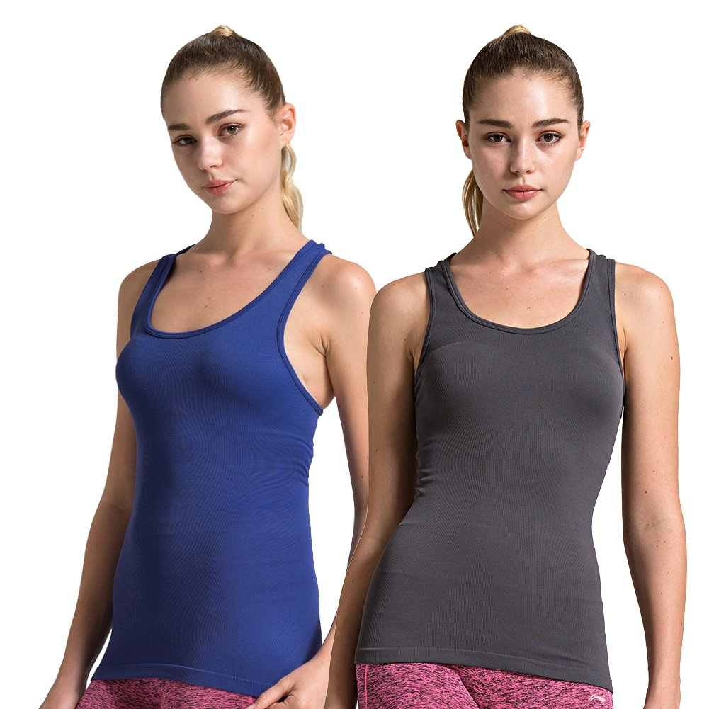 2pack Grey Dark bluee Semath Tank Top for Women, Running Workout Clothes Athletic Yoga Racerback 16 Pack