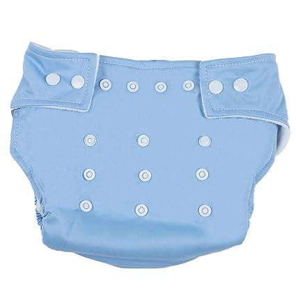 TOOGOO(R) Panales de Tela con Boton Ajustable Lavable para Bebe - Azul