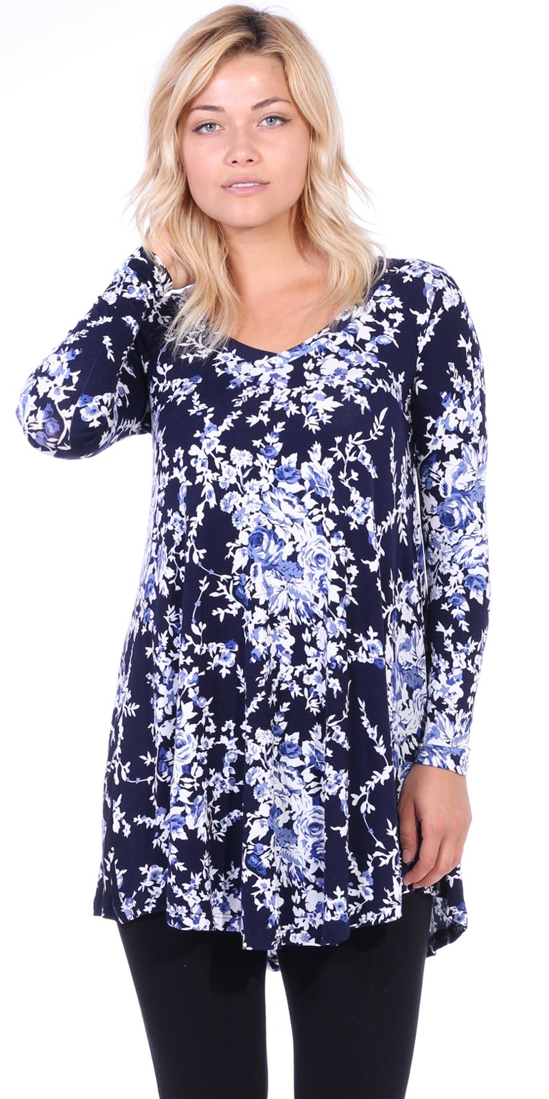 a805cb9dfc7 Galleon - Popana Women s Tunic Tops For Leggings Long Sleeve Shirt Plus  Size Made In USA 2X ST61