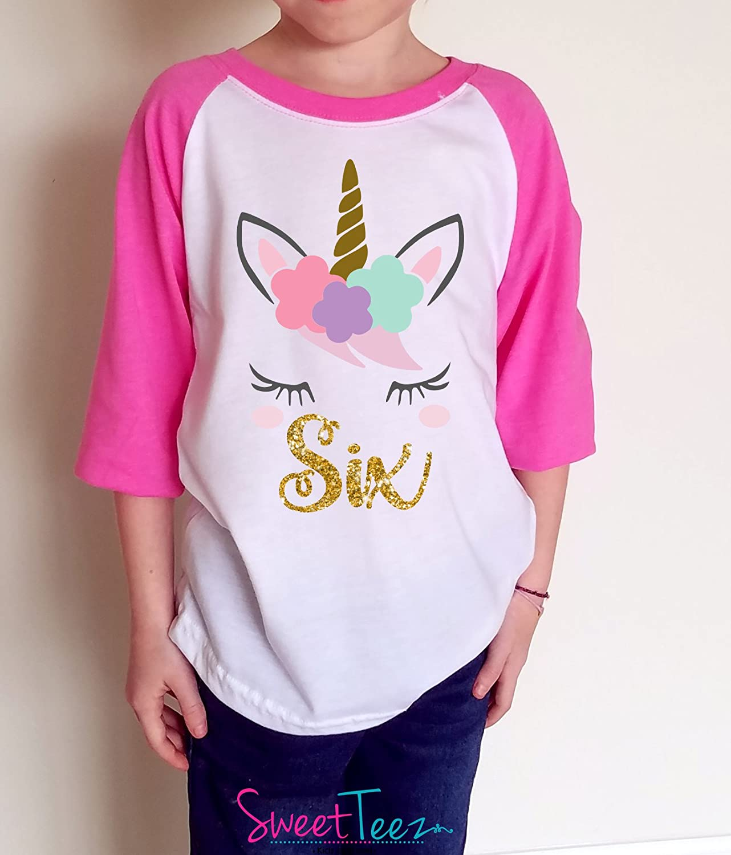 Amazon Personalized Unicorn Birthday Shirt Girls Gold Floral Girl Pink Raglan Gift For Handmade