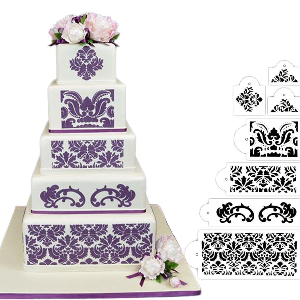 7Pcs Cake Decorating Stencil Mold,HULISEN Christmas/Holidays Wedding Cake Stencil