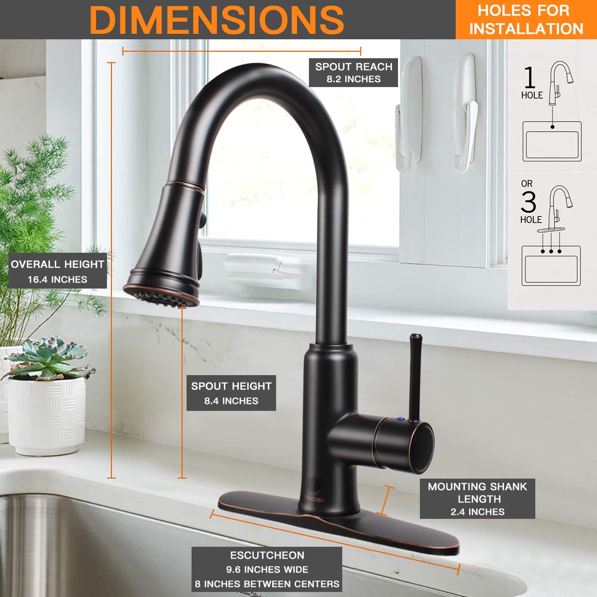 Touchless Kitchen Faucet,Soosi Motion Sensor Single Handle One 3 Hole Automatic Kitchen Faucet 3-function Kitchen Faucets with Pull Down Sprayer Spot Free Oil Rubber Bronze Stainless Steel Lead Free