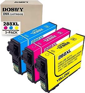 Doswy 3 Packs 288XL Remanufacture Ink Cartridges Replacement for Epson 288 XL 288XL T288XL for Expression Home XP-430 XP-440 XP-330 XP-340 XP-434 XP-446 Printer (1 Cyan, 1 Magenta, 1 Yellow)