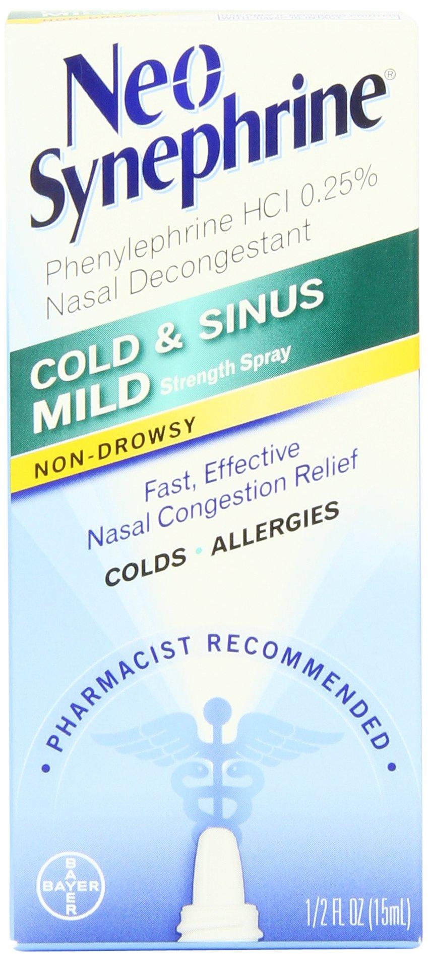 Neo-Synephrine Nasal Spray, Mild Formula.5-Ounce Bottles (Pack of 4)