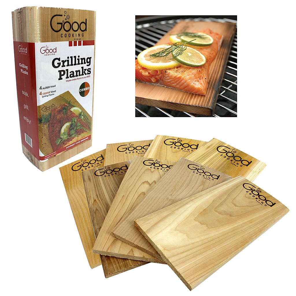 Good Cooking Grilling Planks - Outdoor Barbecue Smoking Grill Planks Variety Pack - Set of 8 (4 Alder, 4 Cedar) - Thicker for Longer Use by Good Cooking