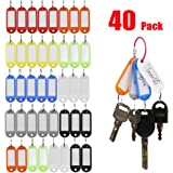 InterUS Key Caps Tags, Id Labels Tags with Split Ring, 40 Pcs in 8 Different Colors