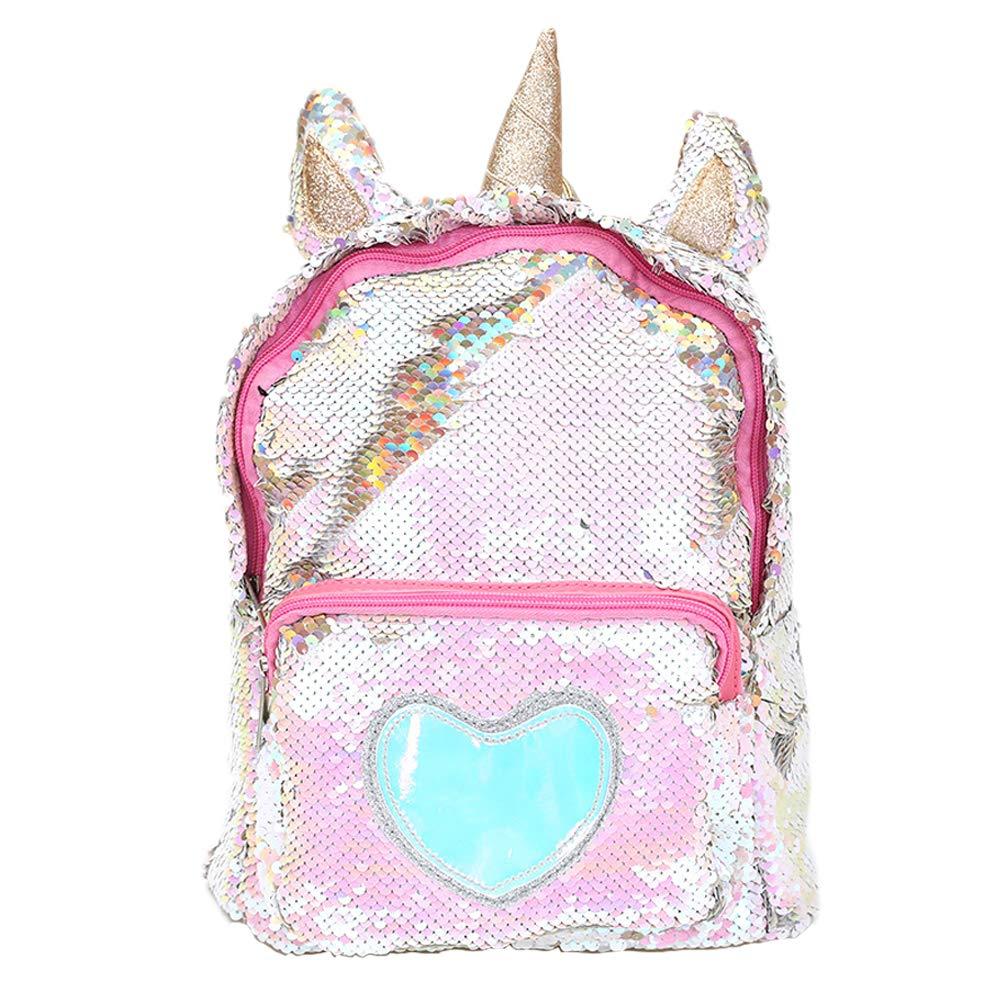 363ff477b1c Bonbela Unicorn Backpack, Cute Cartoon Student Bag, Sequins Critter  Backpack for Girl (Golden)