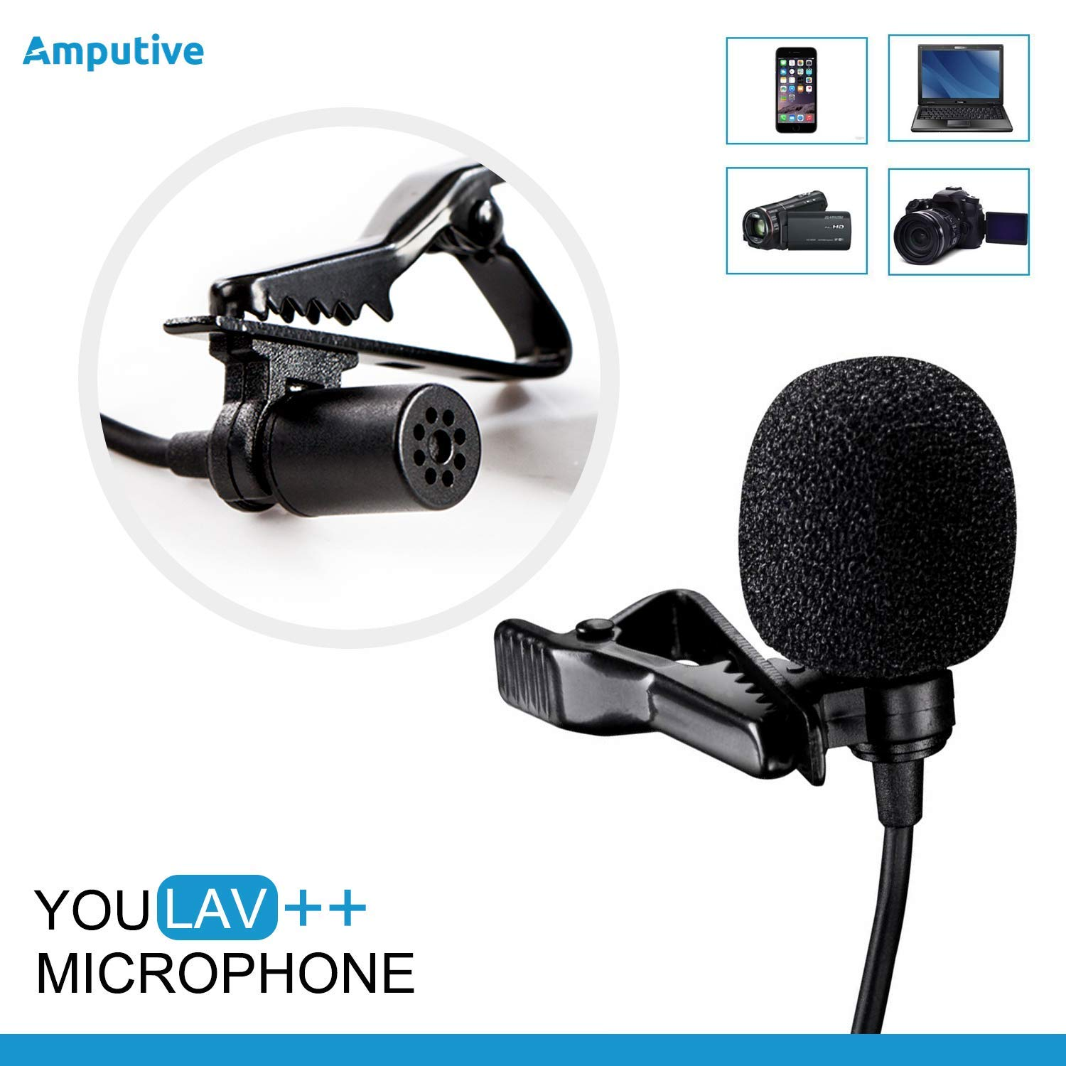 Amputive Youlav++ Omnidirectional Lapel Clip Microphone for Laptop Smartphones PC product image
