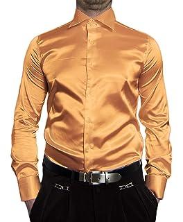 e626d3ab155d Herren Designer Glanz Hemd bügelleicht Schwarz Weiss Rot Pink Hellblau Gold  Silber Beige New Kent