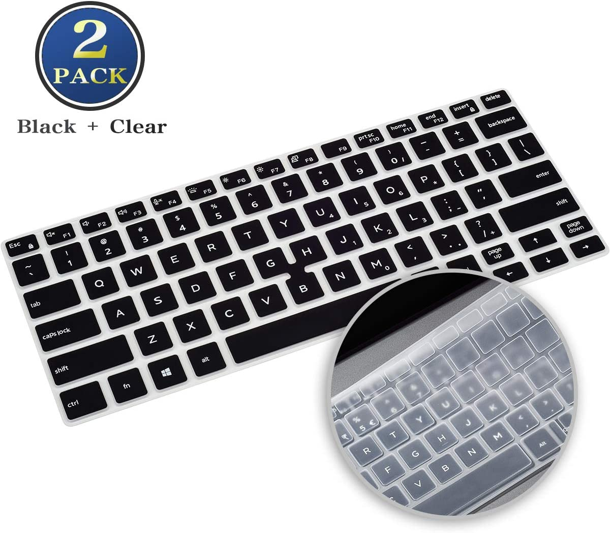 2 Pack Dell Latitude 14 5400 Keyboard Cover, Silicone Keyboard Skin Protector for Dell Latitude 14 Inch 3400 5401 7400, Dell Latitude 14 Keyboard Accessories(Black+Clear)