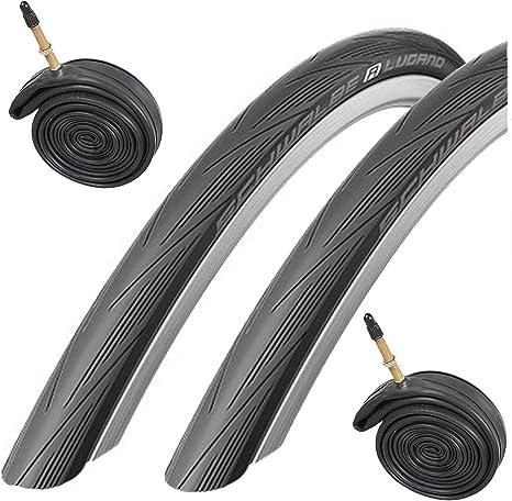 Schwalbe Lugano - Juego de 2 neumáticos 700c x 23 para Bicicletas de Carretera y cámaras Presta, Color Negro: Amazon.es: Deportes y aire libre
