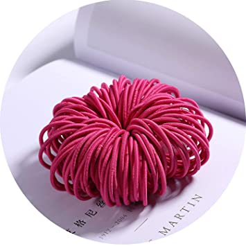 New 100PCS//Lot Girls Candy Colors Nylon 3CM Rubber Bands Children Safe Elastic