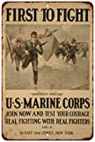 US Marine Corps First to Fight Vintage Look Reproduction Metal Sign 8 x 12 8120189