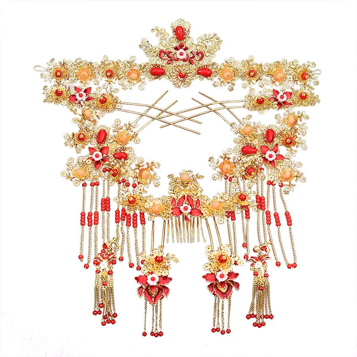 Wedding Crown, Beautiful headdress/Chinese Brides Head Ornaments Wedding Show Suits Ancient Costume Suits Dragon And Phoenix Gowns Accessories Wedding Accessories
