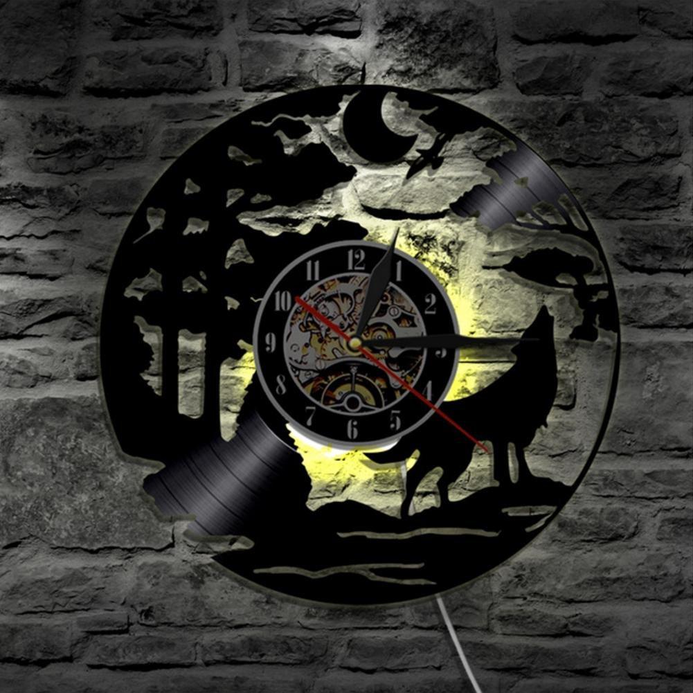 Lyy Lyy Lyy Wolf Handarbeit Led Vinyl Mauer Uhr Farbe Veränderung Fern Steuerung Led Jahrgang Hintergrundbeleuchtung Kunst Cool Leben Zimmer Innere Dekor 51936c