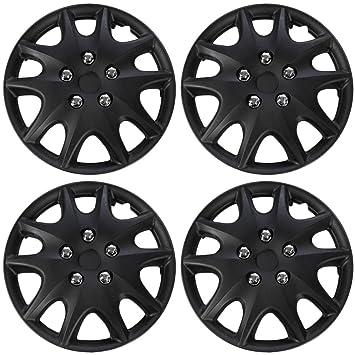 Tapacubos para Toyota Solara (Pack de 4) - Cubiertas de ruedas 15 pulgadas, 10 radios, fijación a presión, negro: Amazon.es: Coche y moto
