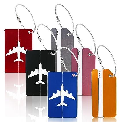 6pcs identificador de maletas de etiqueta de aluminio ZoomSky tarjeta para maleta de colores varios de