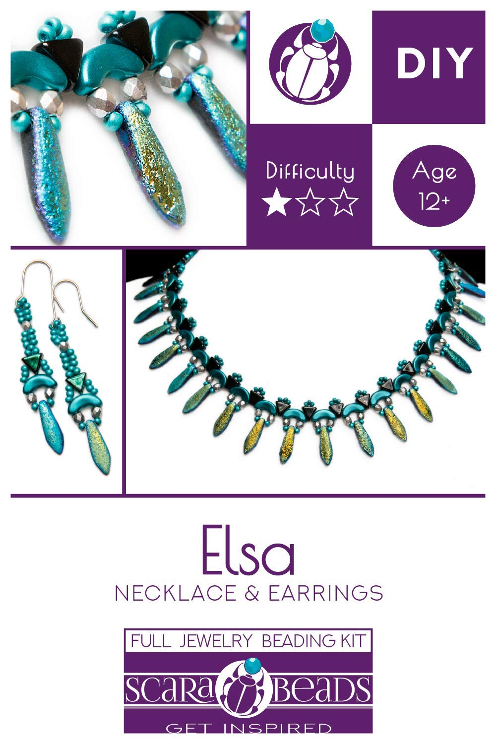 'Exclusive Beading Kit for DIY Jewelry Making Elsa ScaraBeads