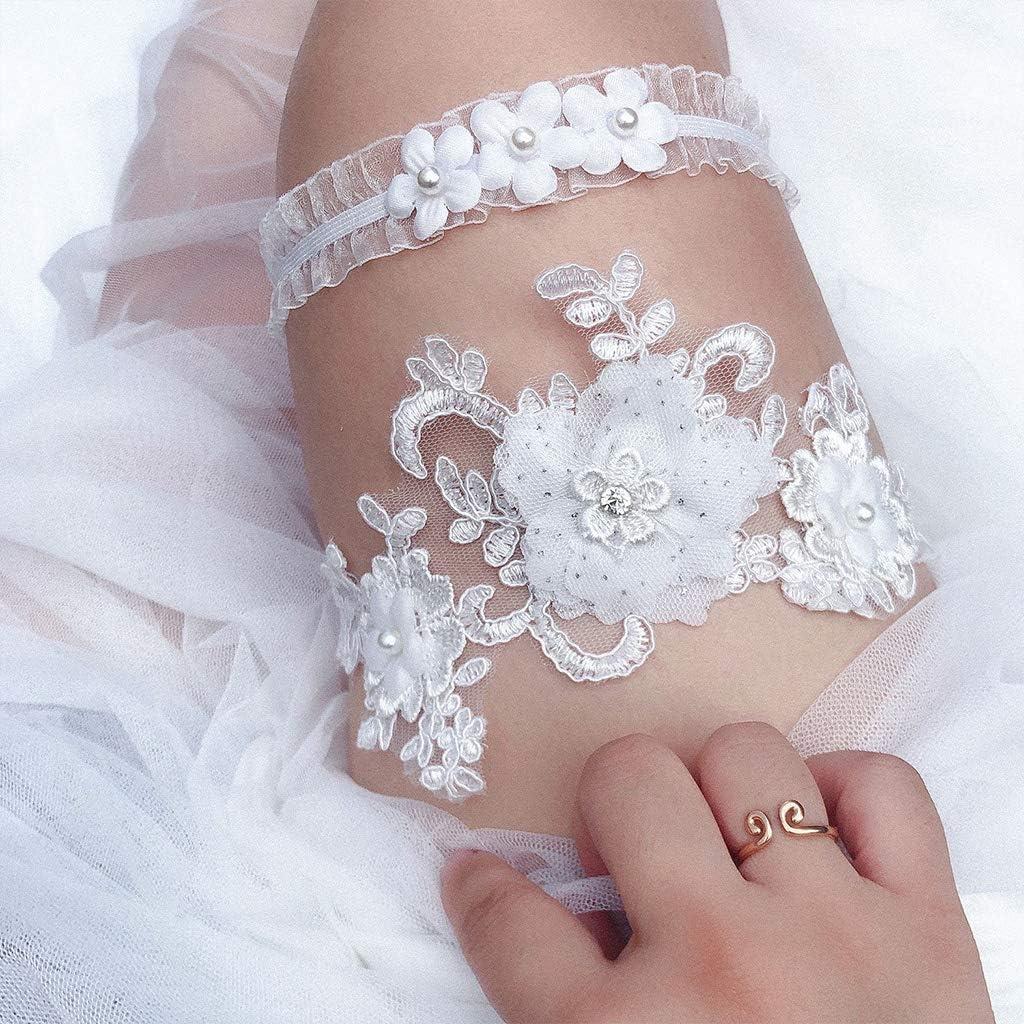 ruiruiNIE Oberschenkel Strumpfb/änder 2 Teile//Satz Frauen Braut Stretch Hochzeit Oberschenkel Ringe Stickerei Blume Schmuck Prom Party Bein Strumpfband A #