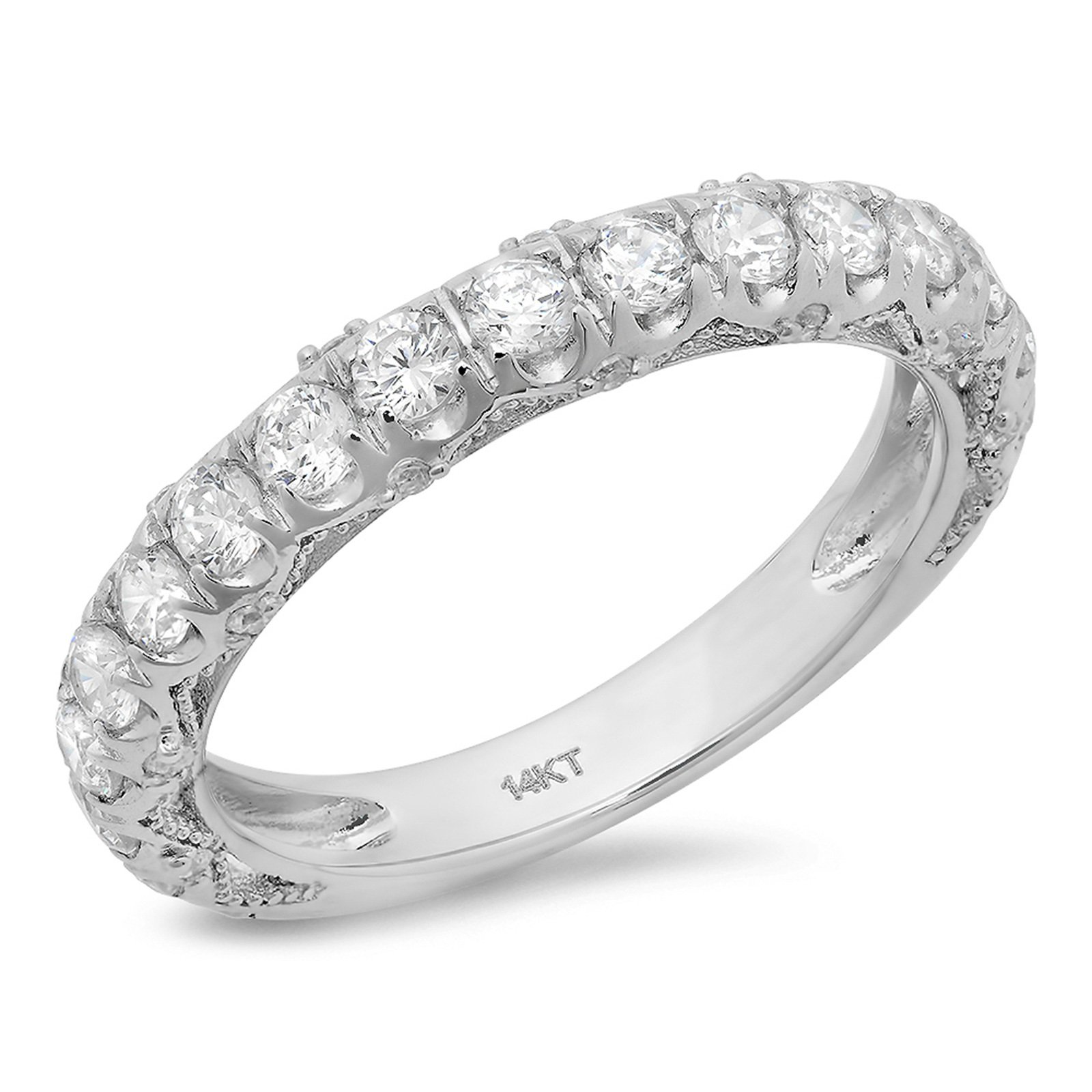 Clara Pucci 3.20 ct Round Cut CZ Pave Set Bridal Wedding Engagement Band Ring 14k White Gold, Size 9.75 by Clara Pucci