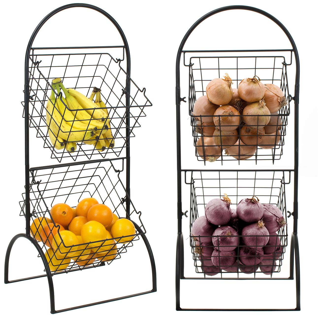 Sorbus 2 Tier Wire Market Basket Storage Stand For Fruit Vegetables Toiletries Household Items Stylish Tiered Serving Stand Baskets For Kitchen