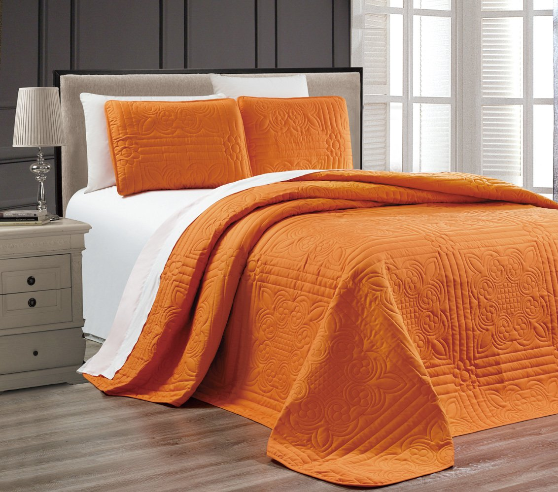 3-Piece ORANGE Oversize ''Stella Grande'' Bedspread KING / CAL KING Embossed Coverlet set 118 by 106-Inch
