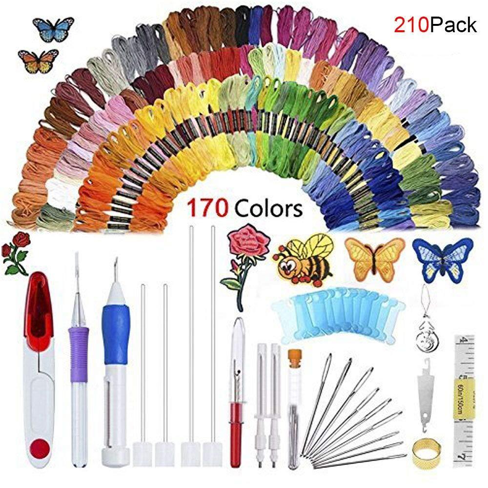 Kit de hilo de bordar, 210 piezas de agujas de punzón con 170 hilos ...
