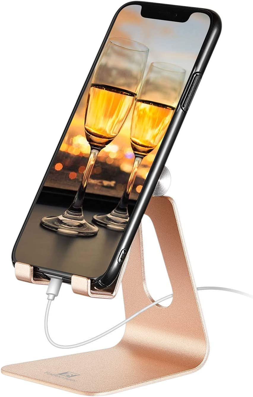Adjustable Cell Phone Desk Stand - ToBeoneer Phone Holder [Updated Thicker] Cradle Dock Compatible with All Mobile Phones Samsung iPhone X 8 7 6 6s Plus Charging,Home Office Accessories Desk - Gold