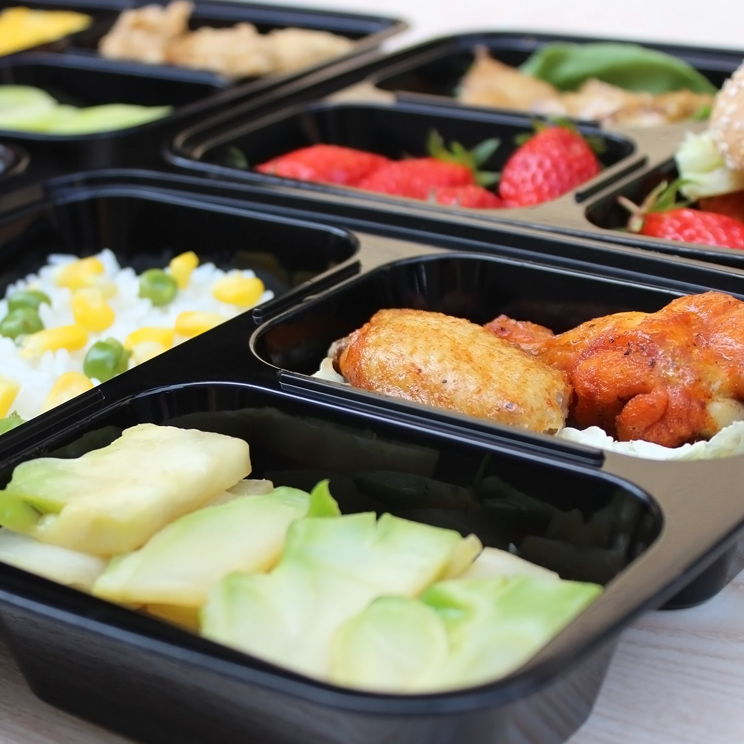 Enther Meal Prep Containers [20 Pack] 3 Compartment with Lids, Food Storage Bento Box   BPA Free   Stackable   Reusable Lunch Boxes, Microwave/Dishwasher/Freezer Safe,Portion Control (36 oz) by Enther (Image #2)