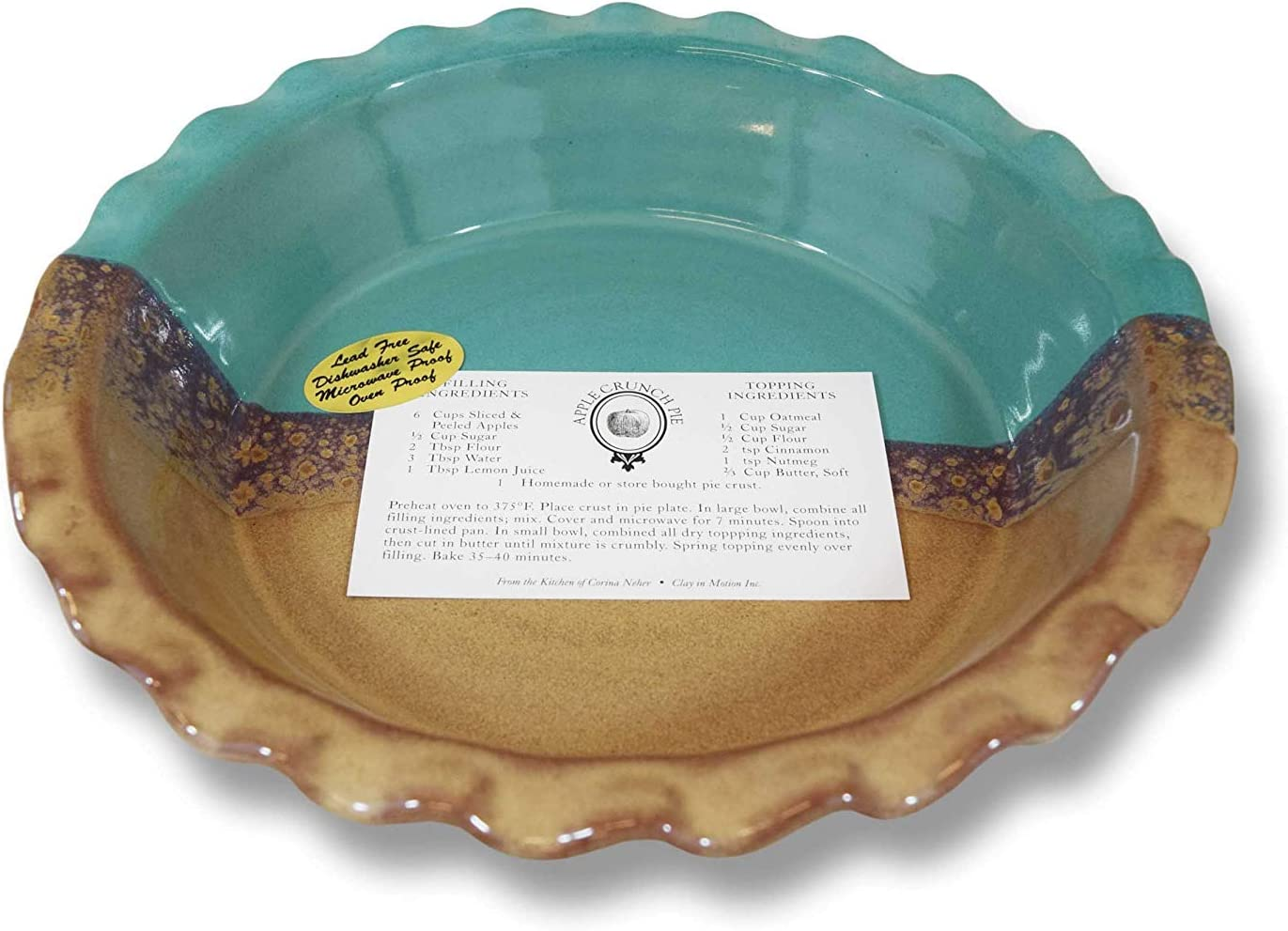 Desert Sand by Clay in Motion Clay In Motion Handmade Ceramic Deep Dish 9 Pie Plate