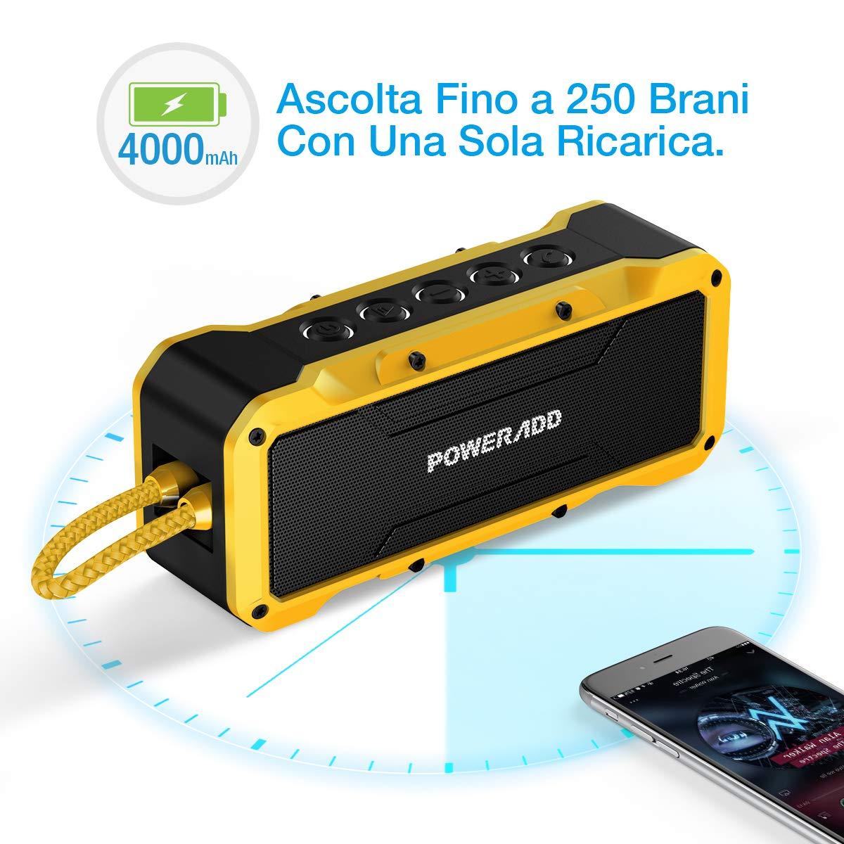 POWERADD Altoparlante Bluetooth Wireless Speaker Portatile con Audio Stereo 36W, Casse Portatile IPX7 a Prova di Urti e Polvere, Aux-in, Perfetto per Utilizzo All\'aperto - Giallo