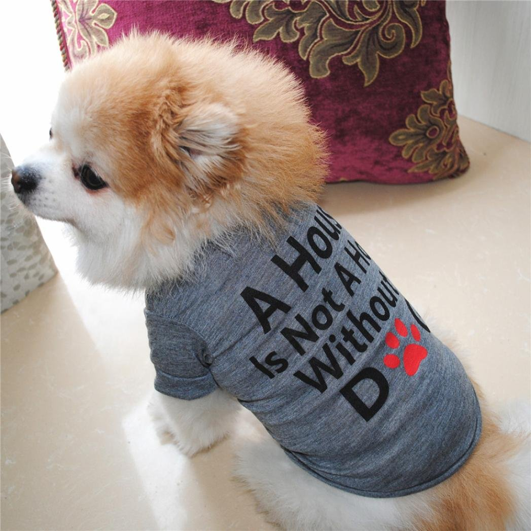 Hot Sale!!Small Dog Cat Pet Puppy Summer Shirt Clothes Vest T-Shirt (XS, Gray B) by Woaills (Image #3)