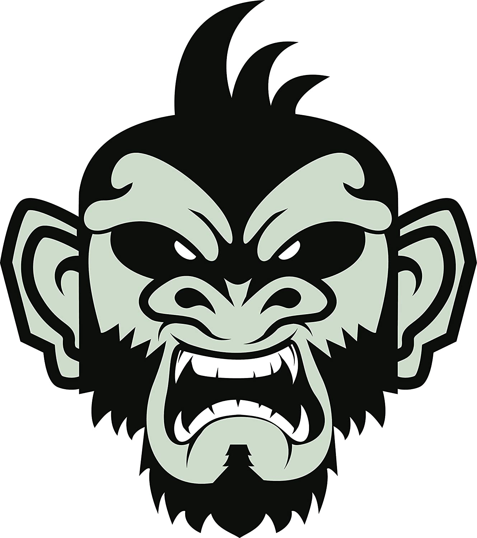 Amazon Com Cool Gray Black Future Monkey Face Cartoon Art Emoji Vinyl Sticker Angry Automotive