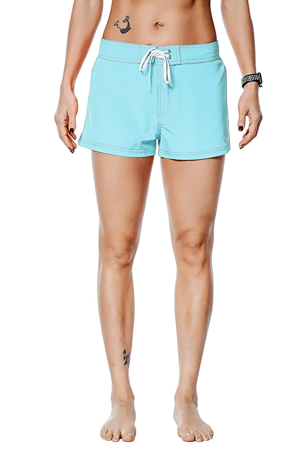 bluee Nonwe Women's Beach Shorts Quick Dry Soild Lightweight