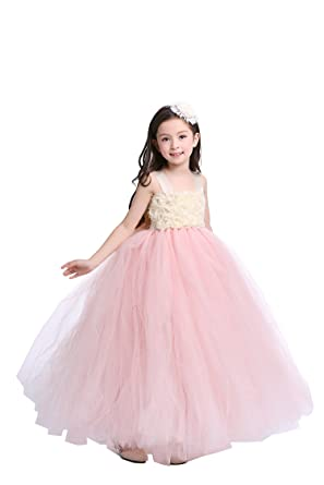 65b9b6b9a84 MALIBULICo Girls  Blush Pink and Ivory Flower Girl Wedding Tulle Dress with  Big Bow at