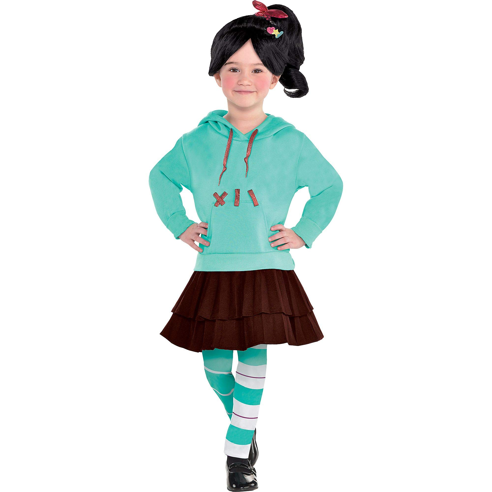 Suit Yourself Wreck-It Ralph 2 Vanellope Costume for Girls, Size Small, Includes a Dress, Leggings, Hair Clips, and Wig by SUIT YOURSELF