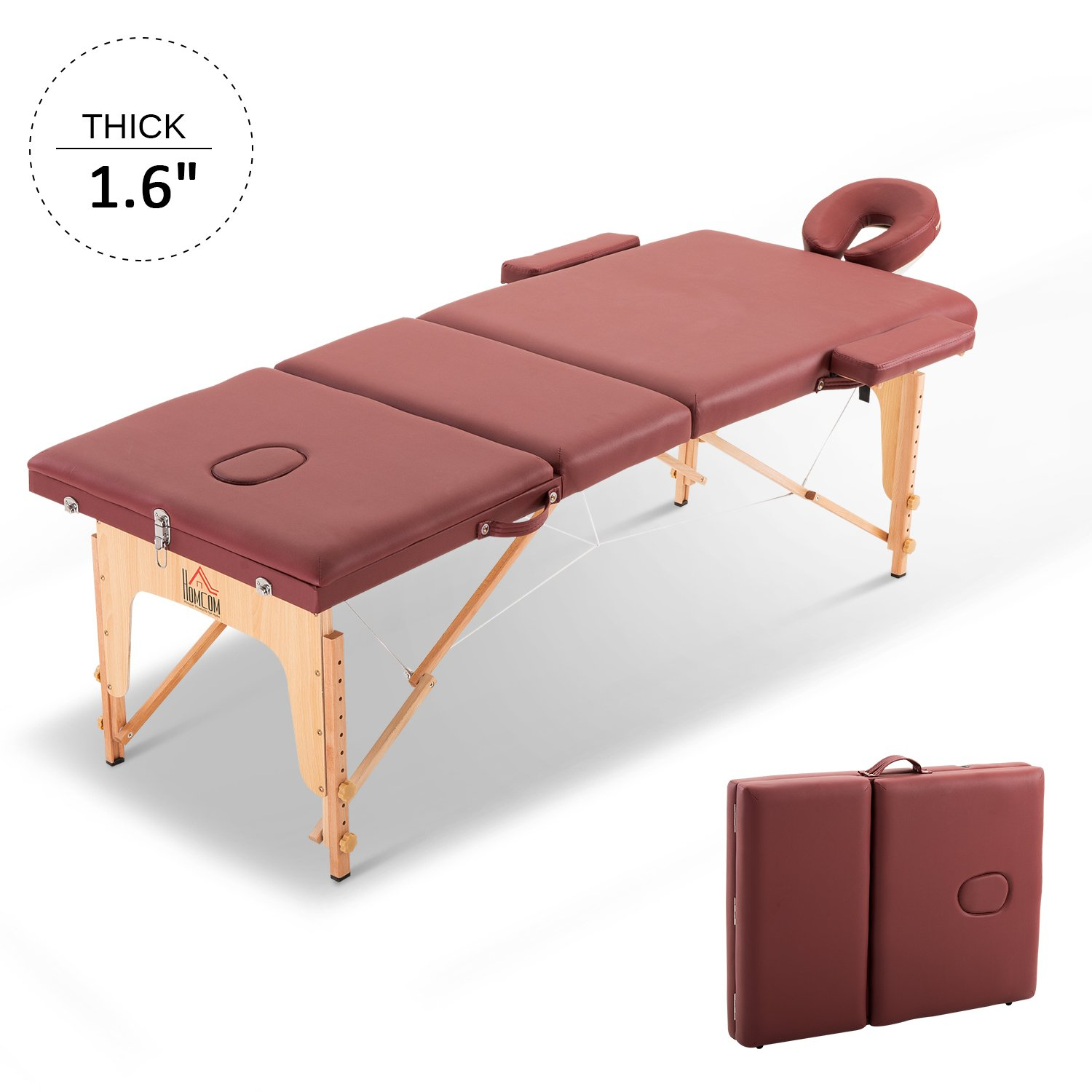 HOMCOM 73 3 Section Foldable Massage Table Professional Salon SPA Facial Couch Tatoo Bed with Carry Bag Red Aosom Canada CA700-078RD0231