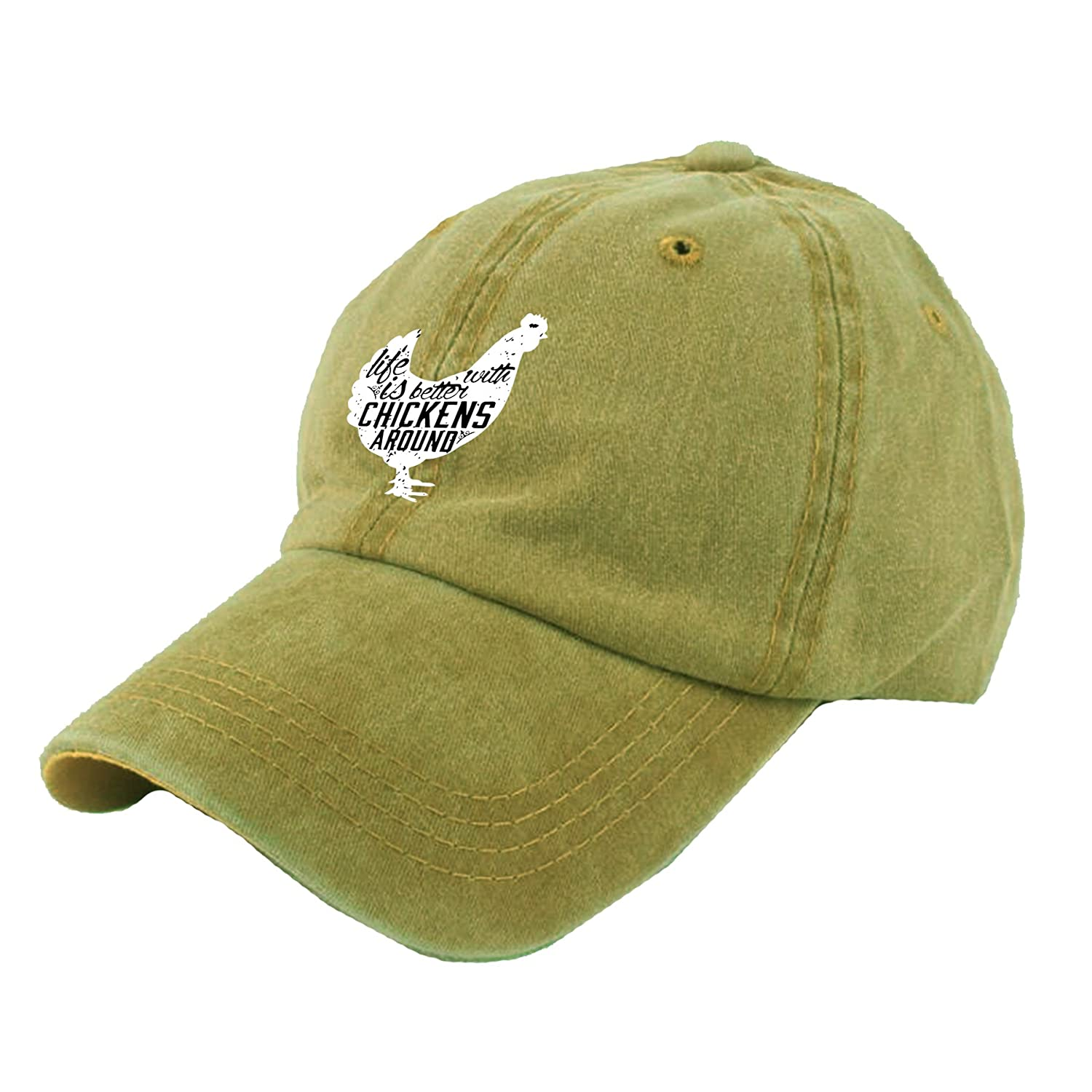 Alility Caps Life is Better with Chickens Around Vintage Adjustable Cowboy Hat Baseball Caps for Adult