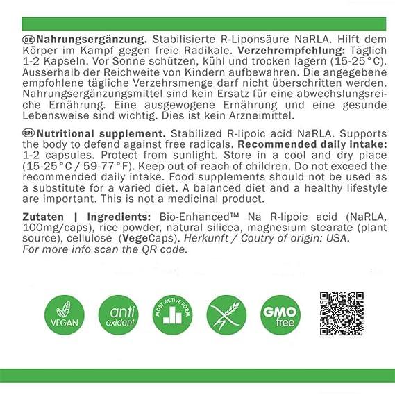 Radical Defense R-Ácido Lipoico NaRLA 100mg | Antioxidante | 100% pura calidad | Alta biodisponibilidad | Vegano | Libre de OGM | Sin Gluten | 90 VegeCaps: ...