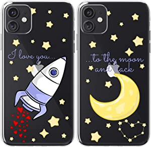 Mertak TPU Couple Cases Compatible with iPhone 12 Pro Max Mini 11 SE Xs Xr 8 Plus 7 6s Relationship I Love You to The Moon and Back Anniversary Space Cute Rocket Soulmate Love Design Cover Matching